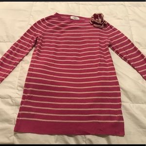 Ann Taylor LOFT Pink and White Striped Sweater
